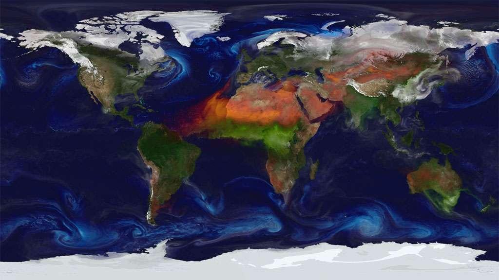 Des vastes incendies sur l'Afrique centrale et l'Australie émettent en masse des aérosols (en vert) dans l'atmosphère. Les vents dans le Sahara propagent en outre d'importantes quantités de poussière. © Nasa