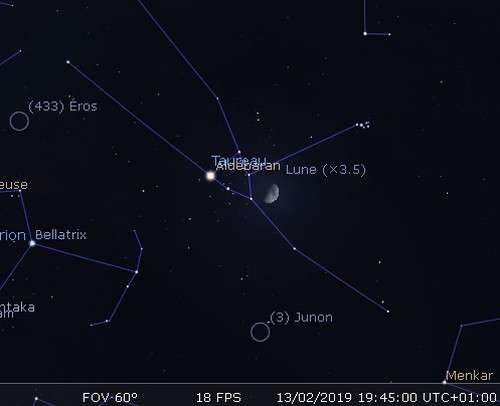 La Lune en rapprochement avec les Pléiades, Aldébaran et Junon