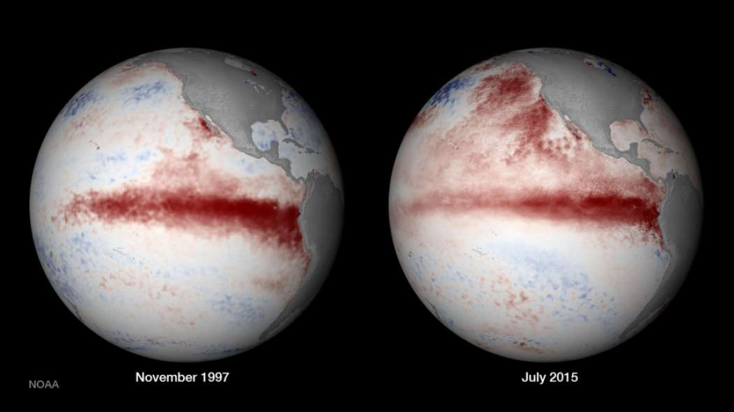 En 1997-1998, la planète a connu un épisode puissant d'El Niño. L'image de gauche montre les anomalies de température des eaux de surface de l'océan Pacifique (en rouge pour les eaux les plus chaudes) près de l'apogée du phénomène, en novembre 1997. Les températures relevées en juillet 2015 (à droite) montrent que l'événement El Niño pourrait atteindre la même ampleur. © NOAA