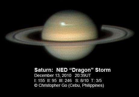 Nouvel avis de tempête sur la planète aux anneaux en cette fin d'année. © Christopher Go