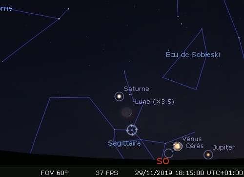 La Lune en rapprochement avec Saturne, Nunki et Pluton