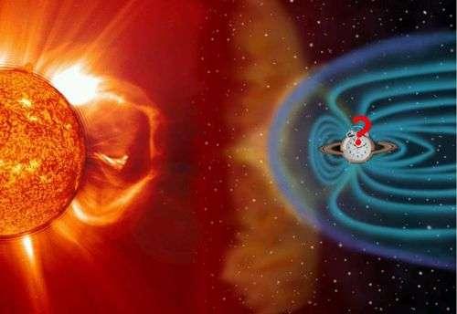 Vue d'artiste du vent solaire agissant sur l'environnement de Saturne. Crédit CNRS