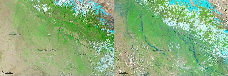 Le Moderate Resolution Imaging Spectroradiometer (Modis) du satellite Aqua de la Nasa a observé les inondations provoquées par la mousson le 21 juin 2013 (à droite). En comparaison, à gauche, la vue satellite de la même région prise le 30 mai 2013. Dans ces images en fausses couleurs, l'eau apparaît en bleu et les terres en vert. © Nasa
