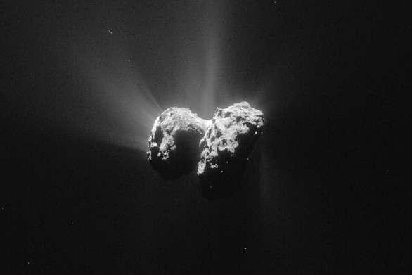 Le noyau de la comète 67P/Churyumov-Gerasimenko alias Tchouri a été photographié par la caméra de navigation (NavCam) de Rosetta, le 15 juin 2015, à 208 kilomètres de distance. En modifiant la luminosité de l'image, les jets de gaz qui constituent sa chevelure sont plus faciles à distinguer. © Esa, Rosetta, NavCam, CC by-sa IGO 3.0