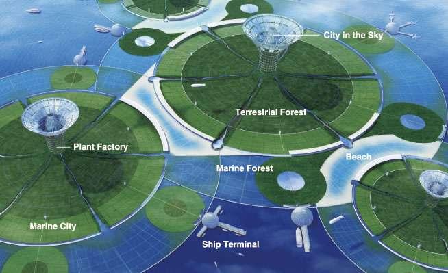 On en a parlé : Green Float, la ville flottante écologique de demain. Vivrons-nous sur des îles flottantes à la hauteur de l'équateur ? © Shimizu Corporation
