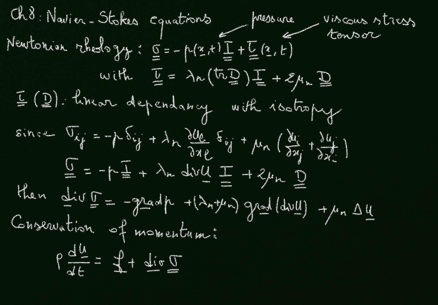 Bien qu'on puisse les écrire sous une forme condensée (la dernière équation en bas du tableau noir), les équations de Navier-Stokes sont quelque peu complexes et font intervenir ce que l'on appelle le tenseur des contraintes σij. Ces équations sont d'une grande importance pour les ingénieurs, les météorologues et les astrophysiciens. © Olivier Thual