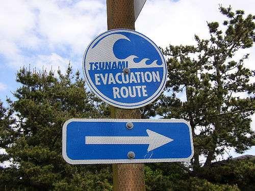 Des signaux comportant une grande vague et une flèche indiquent la voie vers la route d'évacuation. Ils signalent la voie la plus courte pour se diriger vers un terrain plus élevé si le niveau de la mer baisse après un tremblement de terre – un des signes distinctifs d'un possible tsunami. Crédits DR.