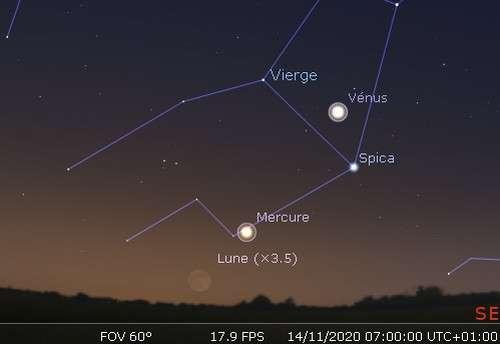 La Lune, Mercure et Vénus sont alignées