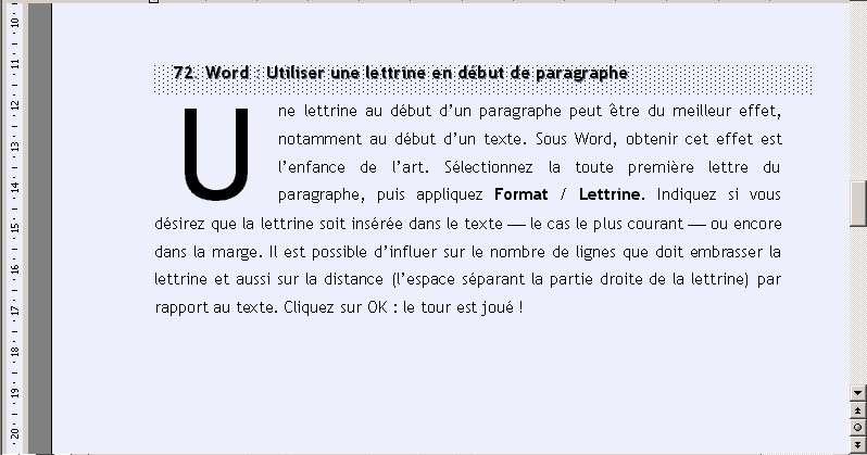 Une lettrine en début de paragraphe. © Futura-Techno
