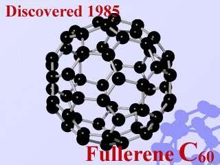 La molécule de buckminsterfullerène (du nom de Richard Buckminster Fuller), formée de 60 atomes de carbone, a la structure de l'icosaèdre tronqué.