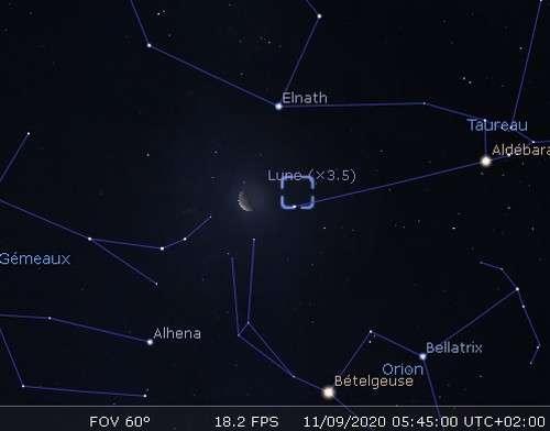La Lune en rapprochement avec l'amas de la Crèche et Elnath