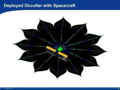Le cache-étoile imaginé par Webster Cash Associé à un télescope spatial, il permettrait mieux que jamais de partir en quête d'exoplanètes de type tellurique (Crédits : CU-Boulder)