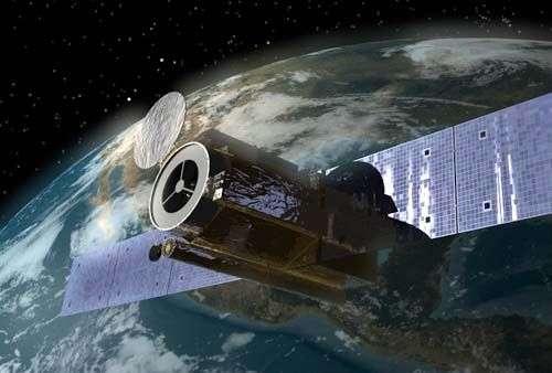 Le satellite Hinode sur orbite (vue d'artiste). Crédit Jaxa