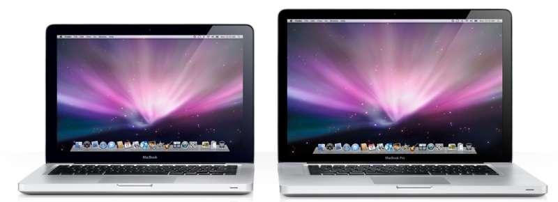 Les nouveaux MacBook (à gauche) et MacBook Pro (à droite). © Apple