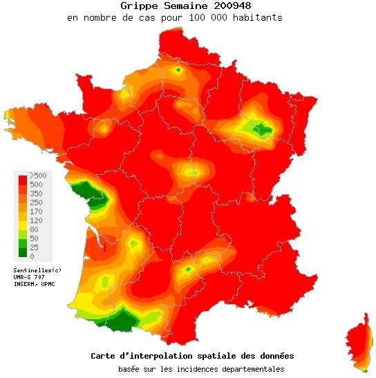 La carte de la grippe A pour la 48ème semaine de 2009 par le réseau Sentinelles. La couleur indique l'incidence en nombre par 100.000 habitants. En rouge, plus de 500. © Réseau Sentinelles