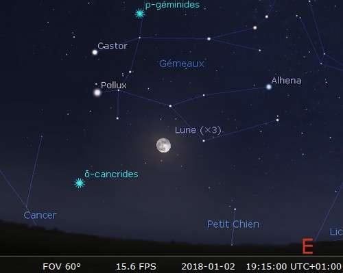 La Lune en rapprochement avec Pollux