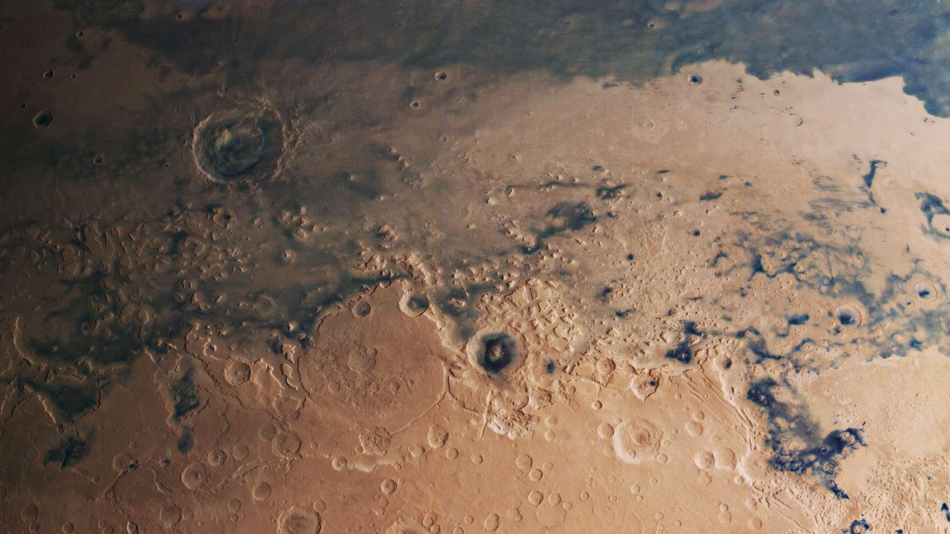 La frontière entre les hautes et les basses terres de Mars. © ESA, DLR, FU Berlin, CC by-sa 3.0 IGO