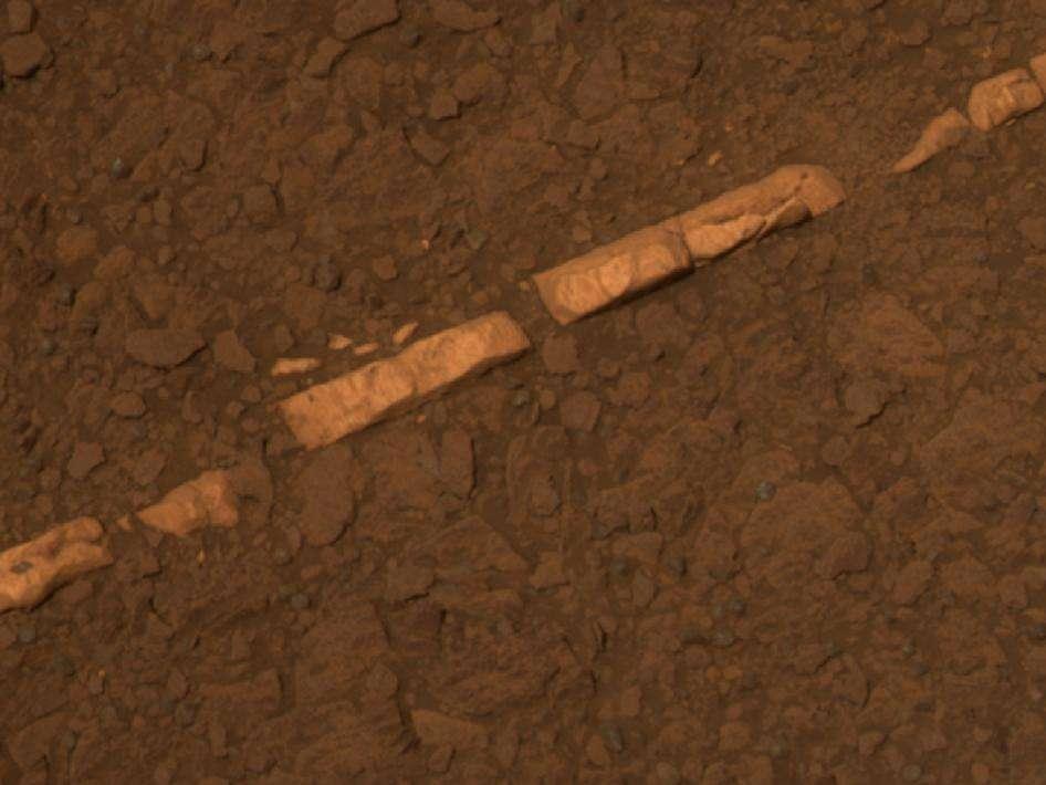 Voici Homestake, un affleurement de gypse découvert par le rover Opportunity sur les bords du cratère Endeavour. © Nasa/JPL/Caltech