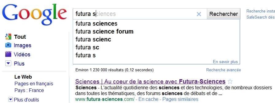 Tapez et Google devine...
