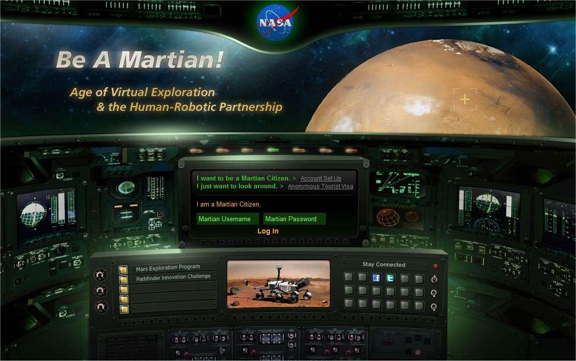 La page d'accueil de Be a Martian évoque plutôt l'univers du jeu vidéo. © Nasa
