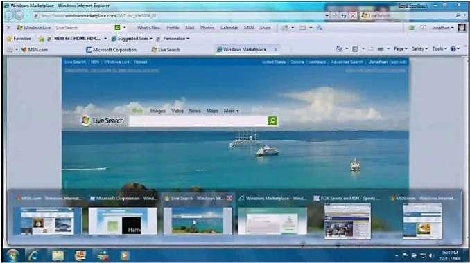 Présentation de Windows 7 sur le site de Microsoft, montrant notamment la nouvelle barre des tâches, agrémentée de captures d'écrans. © Microsoft