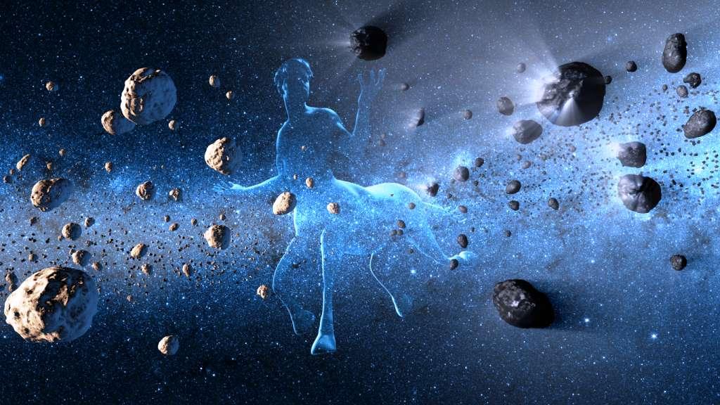 Une vue d'artiste illustrant les petits corps célestes faisant partie de la famille des centaures. On sait maintenant qu'ils ne sont pas en majorité des astéroïdes piégés temporairement sur des orbites instables et très elliptiques entre Jupiter et Neptune. Certains d'entre eux, comme déjà observé, s'entourent d'une chevelure cométaire en s'approchant du Système solaire interne (en noir sur la droite de l'image) : il s'agit donc de comètes. © Nasa