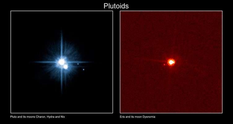 Les plutoïdes Pluton et Eris avec leurs satellites. Crédit : IAU