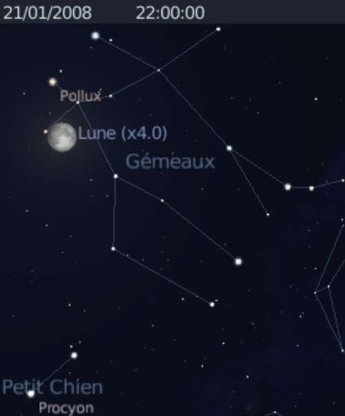 La Lune est proche de l'étoile Pollux