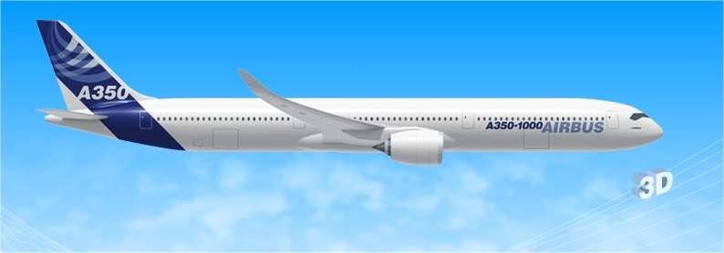 L'A350 XWB 1000, la version longue, transportant 350 passagers. © Airbus