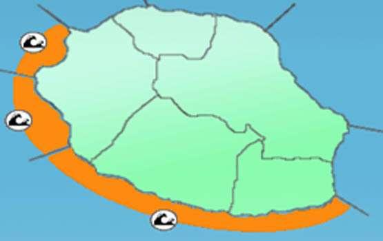 La carte de vigilance indiquant les zones concernées par l'arrivée de la forte houle. © DR