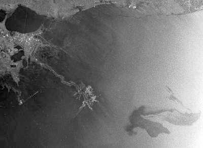 Envisat a survolé le Golfe du Mexique le 26 avril et a pu prendre cette image de la nappe de pétrole à l'aide de son radar à synthèse d'ouverture. Elle est nettement visible en bas à droite. La côte de la Louisiane est à une trentaine de kilomètres. La Nouvelle-Orléans se trouve au sud de la baie, en haut à gauche de l'image. © Esa
