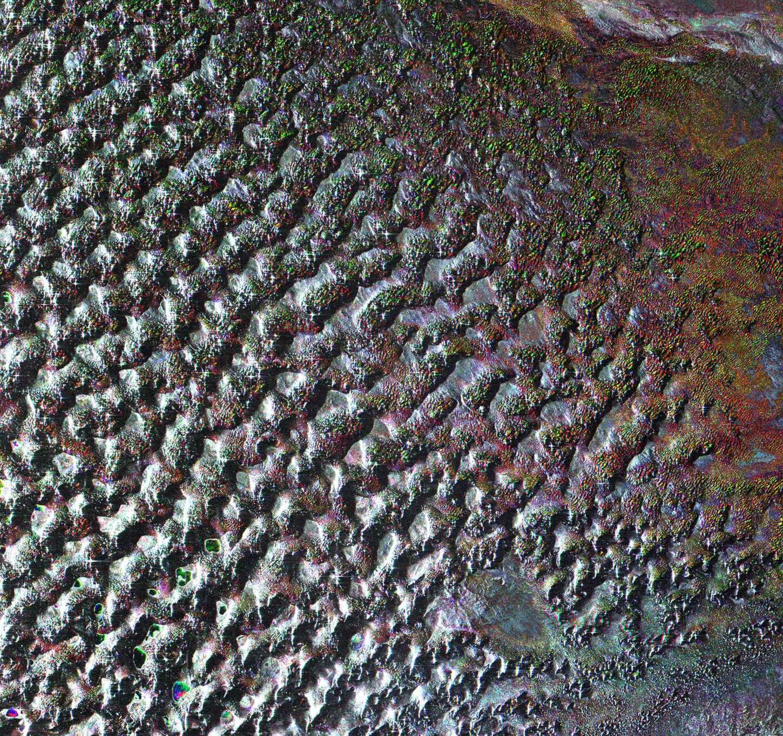 Cette image du désert de Gobi a été acquise le 6 août 2009 par le radar à ouverture synthétique d'Envisat (Asar). Ce désert est connu pour abriter de nombreux fossiles. C'est ici qu'ont été découverts les premiers œufs de dinosaures. Crédit Esa