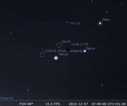 La Lune en rapprochement avec Spica, Junon, Vénus et la comète Catalina