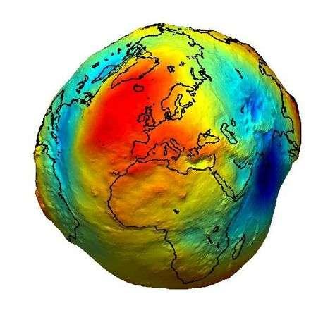 Le géoïde terrestre, tel qu'il sera révélé par GOCE. Crédit Esa