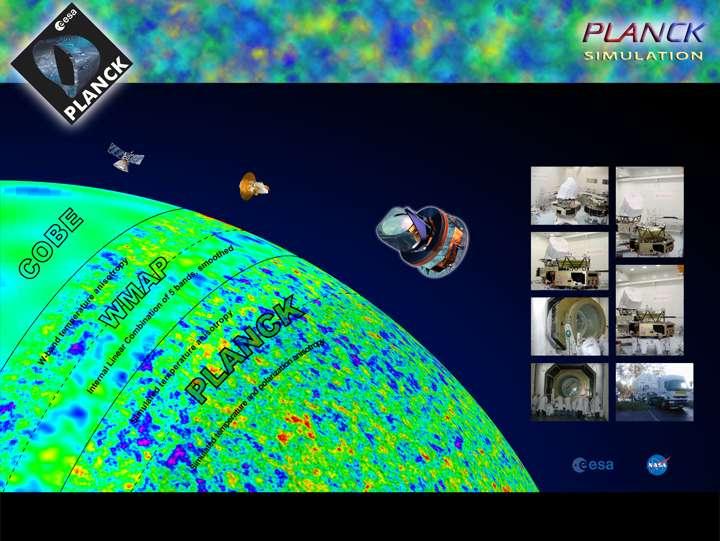 Des mesures de Cobe à celles de Planck, la vision du rayonnement fossile ne cesse de s'améliorer et la connaissance de notre Univers observable de se préciser. Crédit : Esa