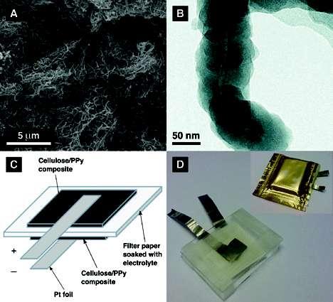Des fibres de cellulose (A) sont individuellement enduites d'une très fine couche de polypyrrole (B). On obtient une feuille dont deux exemplaires sont appliqués de part et d'autre d'un filtre en papier classique imbibé d'un électrolyte (C). Avec deux électrodes, ici des feuilles de platine, on obtient une curieuse batterie. © Gustav Nyström et al., / Nano Letters