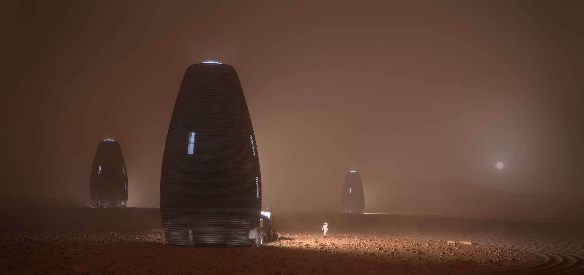 Impression d'artiste de l'habitat martien imaginé par AI SpaceFactory. © AI SpaceFactory