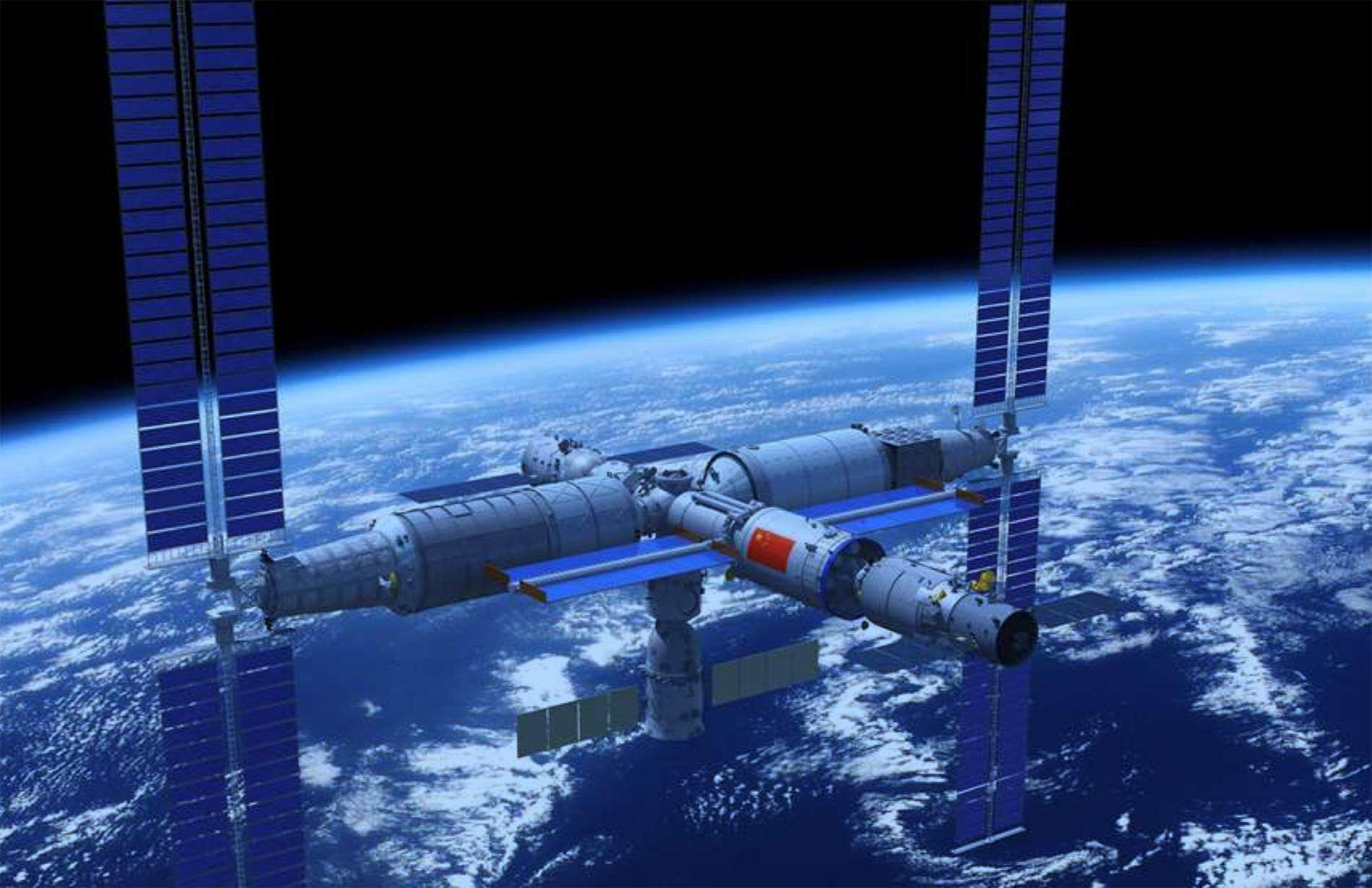 Le télescope sera amarré à la future station spatiale chinoise Tiangong. © CNSA