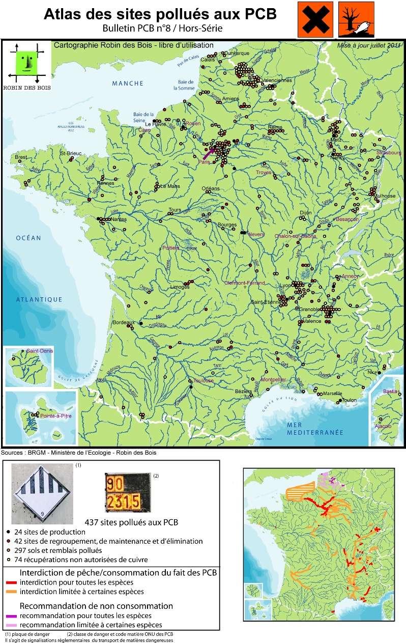La carte de 2011 recense 437 sites, soit 76 de plus que lors du premier inventaire en 2008. Les recherches dans les archives et sur le terrain continuent pour identifier un maximum de sources de pollution. © Robin des bois