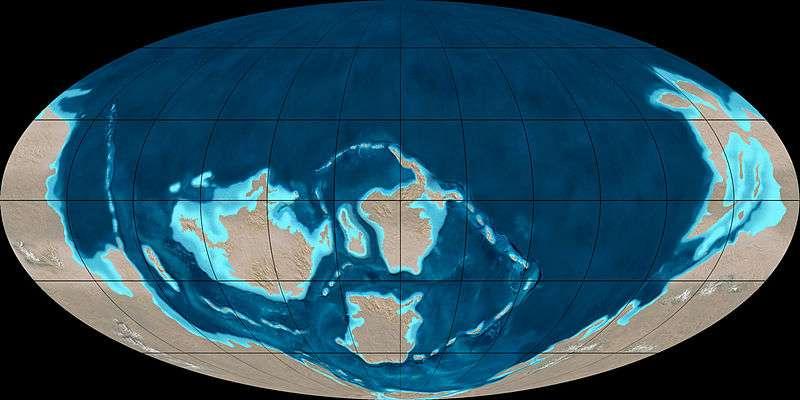 Au Cambrien, le mégacontinent Rodinia a poursuivi sa dislocation commencée au Précambrien. Les terres émergées de cette ère géologique auraient été de vastes surfaces désertiques soumises à une intense érosion. © Ron Blakey, NAU Geology, Wikimedia Commons, cc by sa 3.0