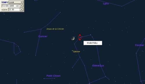 La Lune est en conjonction avec la planète Saturne et proche de l'étoile Pollux