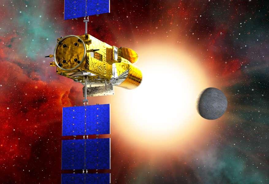 Le satellite Corot en pleine observation d'une exoplanète (vue d'artiste). Crédit Esa