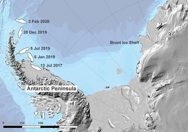 Depuis sa séparation avec le continent, l'iceberg A68 a déjà parcouru plus de 1.000 kilomètres. © Jonathan Amos, Twitter, Université de Swansea