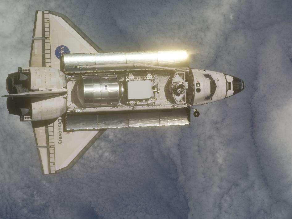Discovery, le 26 février 2011, photographiée par l'équipage de l'ISS. © Nasa