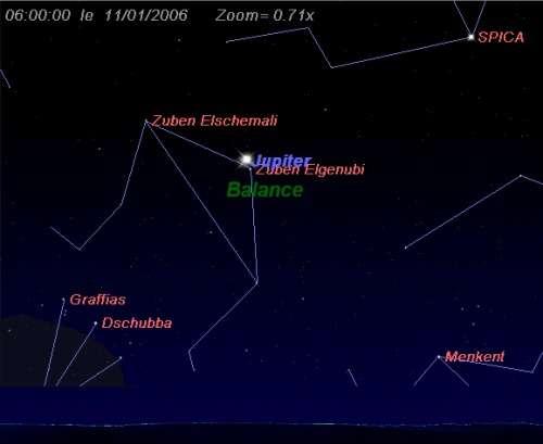 La planète Jupiter est en conjonction avec l'étoile Zuben Elgenubi