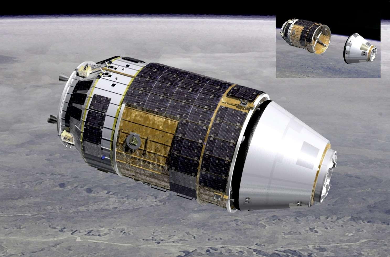Un des trois concepts à l'étude pour donner une capacité de retour d'orbite au cargo spatial HTV de la Jaxa. © Jaxa