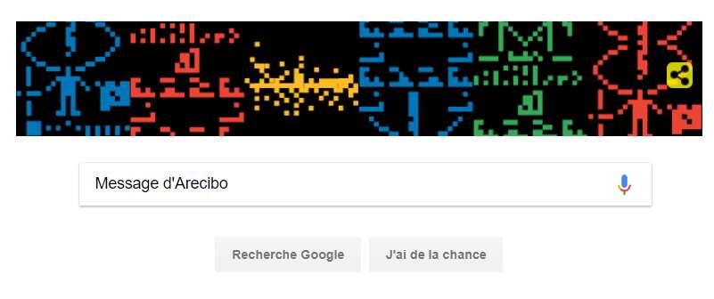 Google fait souvent un clin d'œil à des évènements importants en modifiant temporairement le design de son logo, ce qu'on appelle un Doodle. Le dernier en date fête le 44ème anniversaire du message d'Arecibo (16 novembre), un signal radio émis vers l'amas d'Hercule. © Google, Capture d'écran