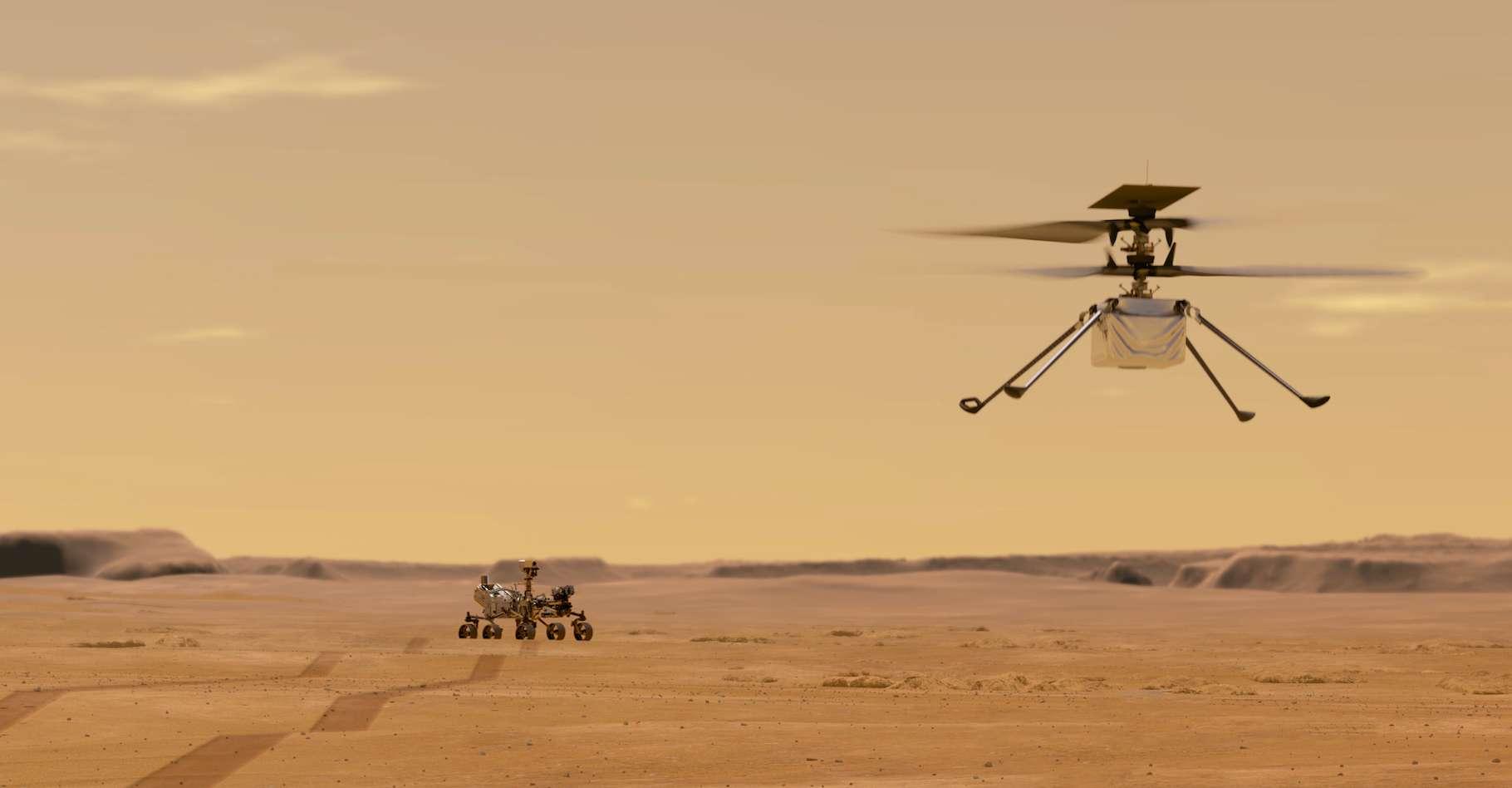 Ingenuity, l'hélicoptère martien — ici en vue d'artiste — attend sur la Planète rouge, que vienne l'heure de son premier vol. © Nasa, JPL-Caltech