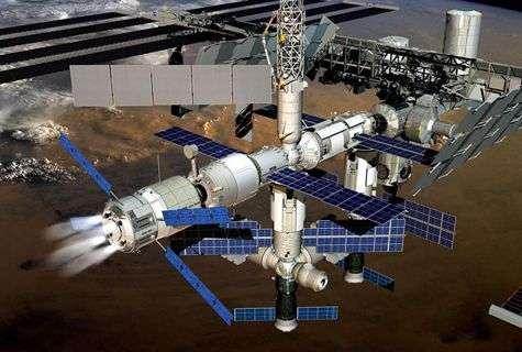 L'ATV en phase de reboost, c'est-à-dire rehaussant l'orbite de la Station (vue d'artiste). © Esa