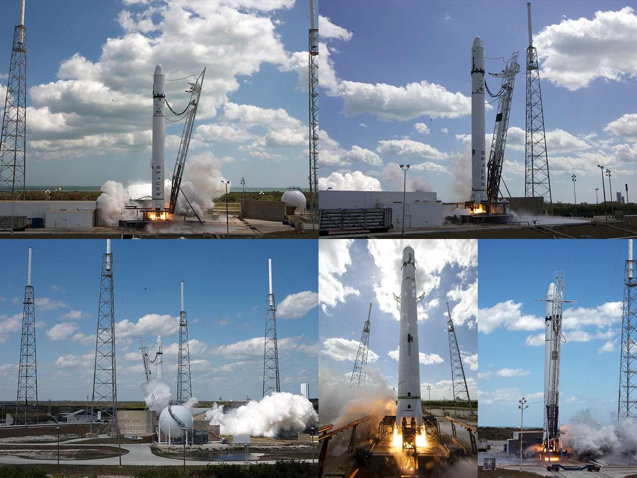 Mise à feu réussie des 9 moteurs Merlin du premier étage de Falcon-9. Ils ont fonctionné pendant 3,5 secondes, délivrant une poussée de quelque 400 tonnes. Crédit SpaceX